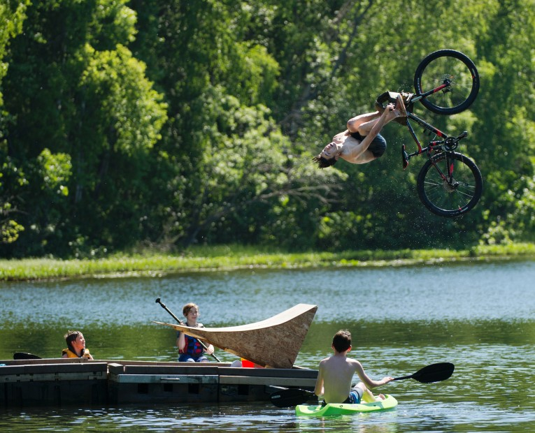 Little Campbell Lake, summer, bike jump